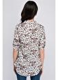 Cottonmood 8115002 Viskon Desenli Gömlek Yaka Yarım Patlı Bluz Lacivert Çiçek Desen Ekru